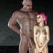 Busty 3D toon hottie getting down with a lustful monster