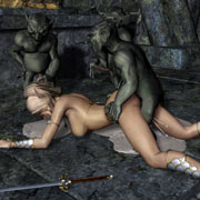 Sexy 3D toon girl getting abused by several scary goblins