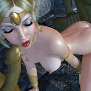 Fantasy 3D toon babe getting group fucked by goblins