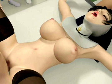 Busty 3D nun stimulated and fucked in a nasty hospital orgy