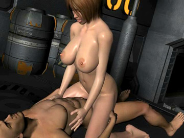 Unabashed 3D redhead going for a cock ride at a spaceship