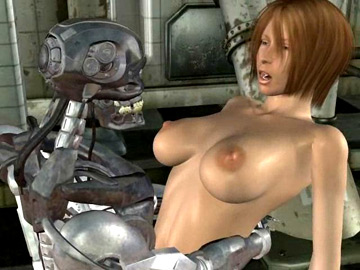 Tempting 3D babe getting screwed by a humanlike iron robot