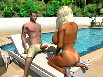 Heavily busty 3D platinum blonde getting doggie by the pool
