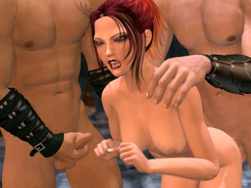 Sultry 3D hentai redhead getting gangbanged by lust driven studs
