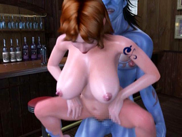 Busty 3D hentai redhead gets challenged with a monster sized cock