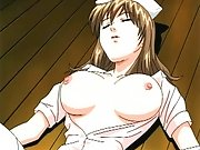 Nervous anime nurse with unbeleivable tits gets fucked hard by her patient