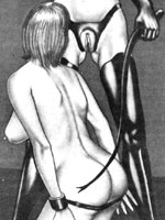 BW drawings featuring submissive nude babes tied and humiliated by nasty masters and mistresses in black leather