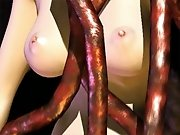 Bizarre sex scene featuring a tall redhead and a bunch of horny monsters