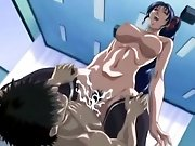 Busty hentai brunette spreading stockinged legs for a fuck