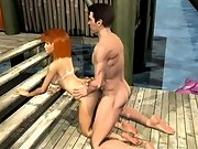 Hot 3D redhead with big boobs gets fucked doggy style
