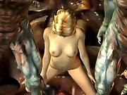 Blonde 3D hentai beauty penetrated by a frightful tentacle monster