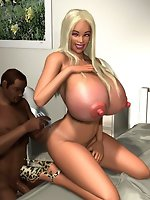 Horny 3D blonde going for a big black cock in steamy interracial