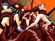 Huge tentacle monsters fucking all the hot busty hentai girls