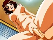 Hot big tit anime chick riding her fat ass on a big hard cock