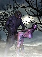 Bigtitted hentai girl fucked by a wolfman in fantasy porn pictures