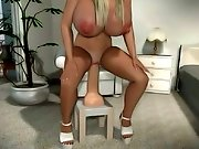 Curvaceous 3D blonde bares her mammary mounds getting dirty