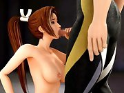 Bigtits brunette 3D hentai girl fighter gets rough fucked