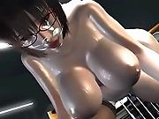 Curvy 3D hentai babe giving tittyfuck before mounting stiff hardon
