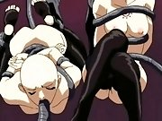 Very dirty hentai with bald dolls sucking palps and eating their green juices