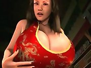 Sultry 3D hentai bombshell exposing her huge knockers and wet pussy
