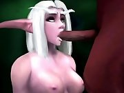 Lusty 3D hentai female creature getting it on with a scary monster